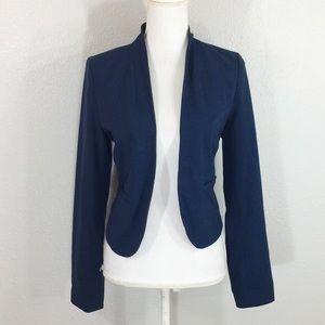 Frenchi navy blue open collarless blazer